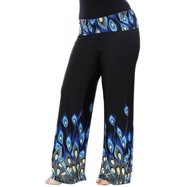 Plus Size White Mark Solid Palazzo Pants ($40) ❤ liked on Polyvore featuring plus size women's fashion, plus size clothing, plus size pants, dark blue, plus size, high waisted palazzo pants, elastic waist pants, plus size palazzo pants, plus size high waisted pants and print palazzo pants