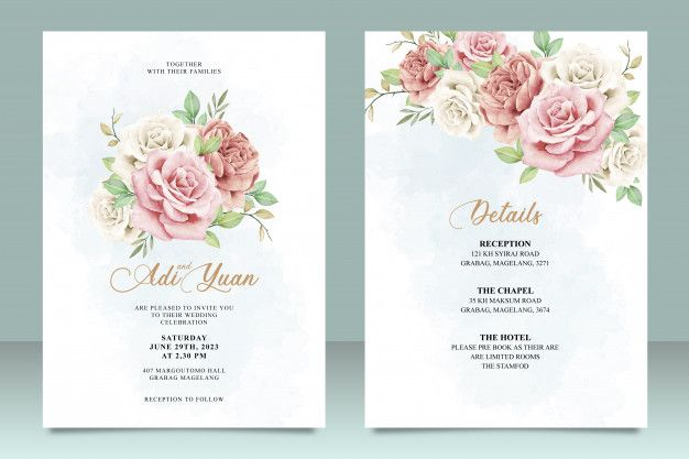 Beautiful Wedding Card Template With Flowers And Leaves Design