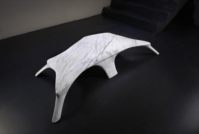 Ren - Table. Ifeanyi Oganwu Carrara marble table  176 x 105 x 22 cm  ©Armel Soyer Gallery