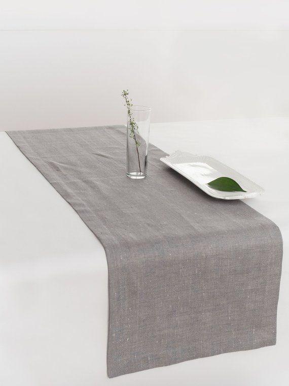 Table Runner Grey Linen Table Runner Long Table Runner Table