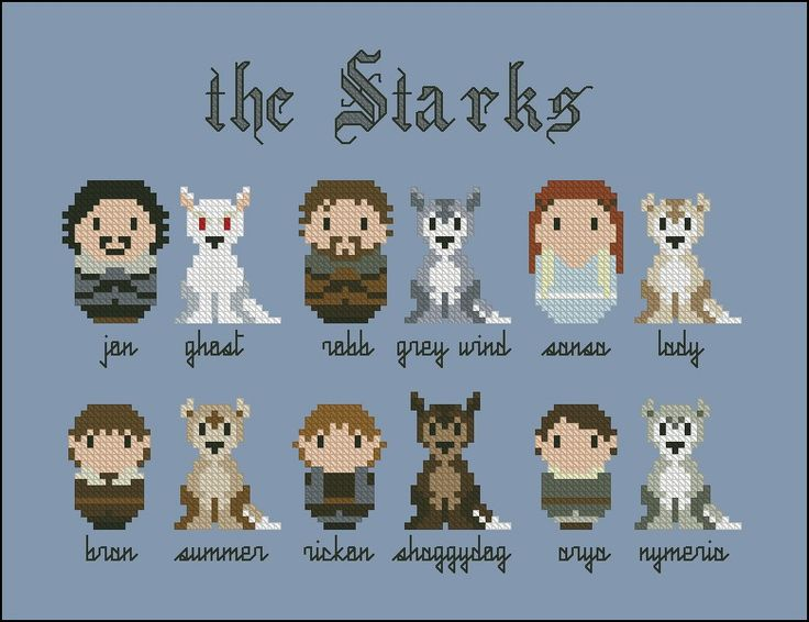 Game of Thrones - The Starks and their wolves pattern by CloudsFactory