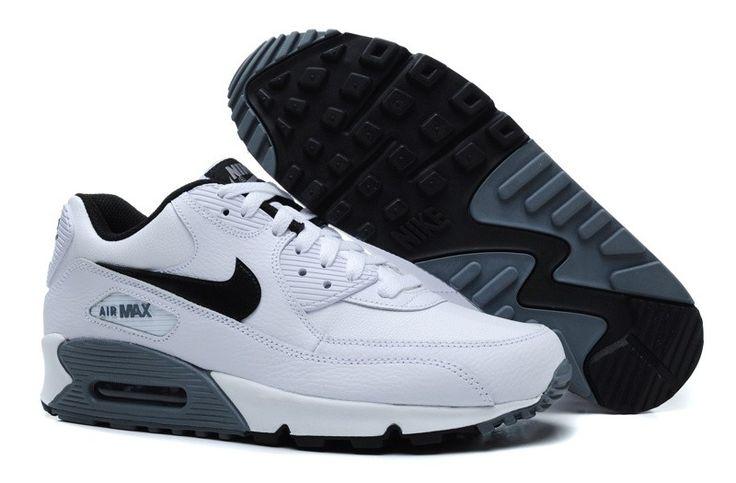info for 96243 a08dd ... italy zapatos nike air max 90 esencial de cuero de los hombres de negro  blanco cool
