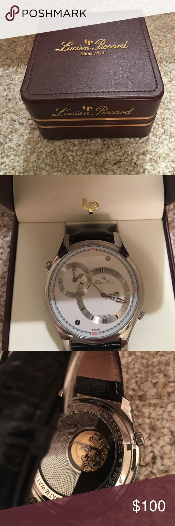 Lucien Piccard auto mvmnt Very cool automatic swiss movement. Pretty big in size genuine leather strap Lucien Piccard Accessories Watches
