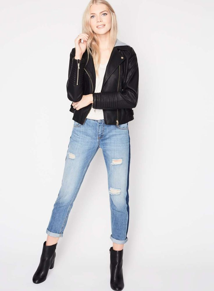 Jersey Hooded Biker Jacket - Clothing - Sale - Miss Selfridge