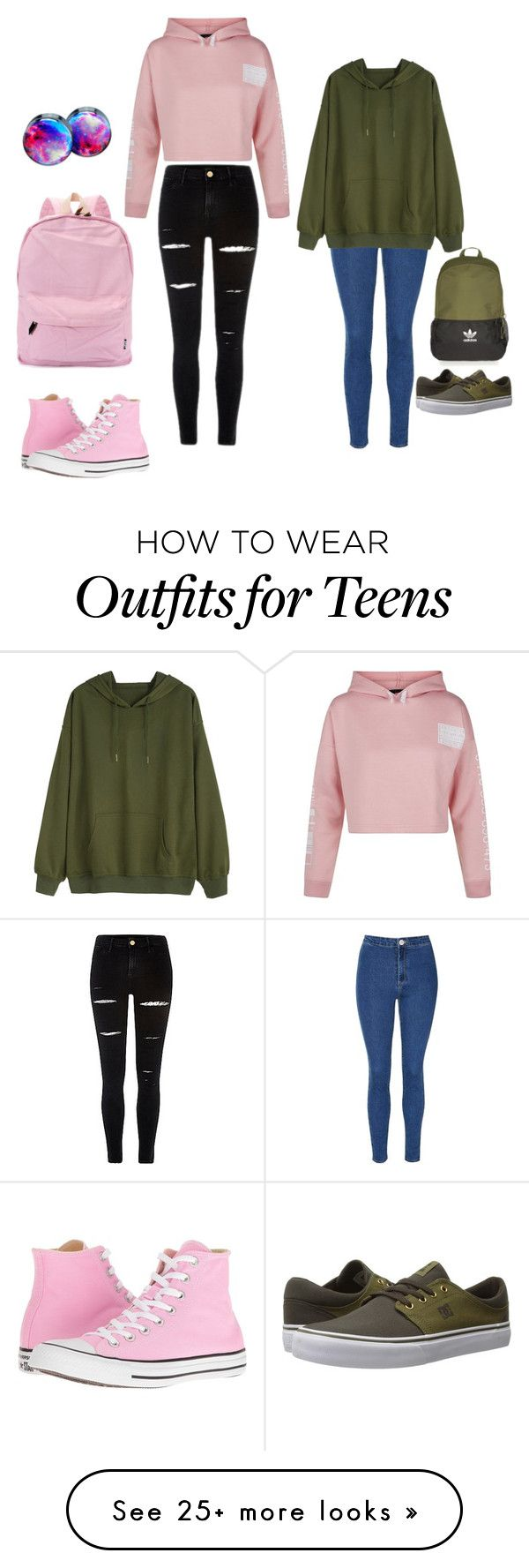 """""""School outfits"""" by shanna-carbonneau on Polyvore featuring New Look, Converse, Glamorous, DC Shoes and Topshop"""