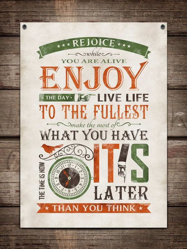 Retro typography / retro poster, typography word art, inspirational typography  / Now Is The Time / 20x28. , via Etsy.