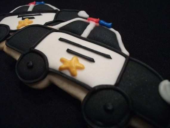Police Car Party Favors - Decorated Cookie Favors - Cops - Cruisers
