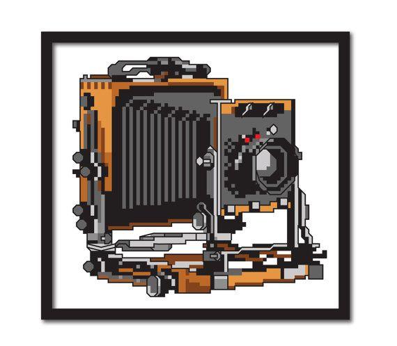 Vintage Large Format Camera Modern Cross Stitch by tinymodernist, $5.00