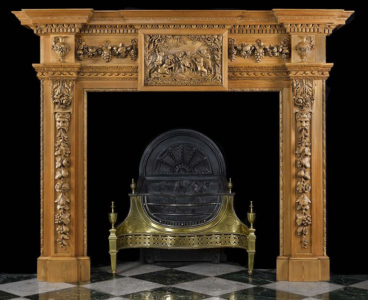Antique Carved Pine Fireplace Mantel