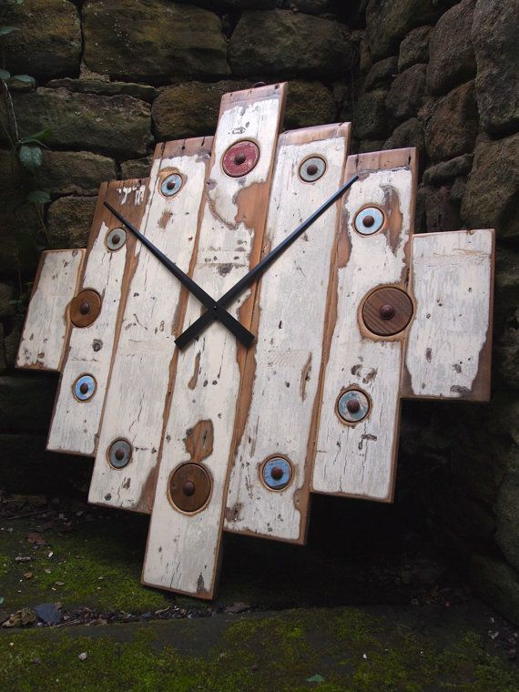 Unique large reclaimed timber wall clock by DesignateProduct, £189.00