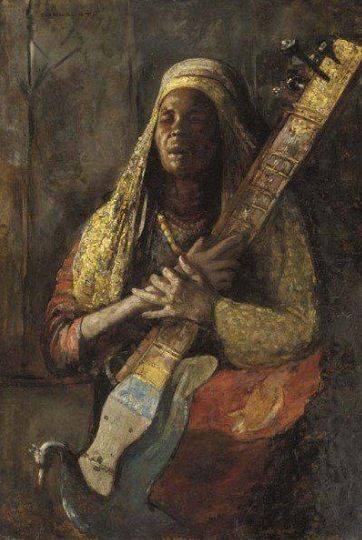 Tornaï Gyula (1861-1928) - The Oriental Lute Player