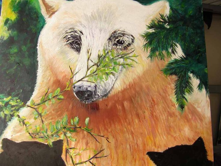 "Title: Mama Spirit Bear & Cubs Media: Oil on Canvas Size: 30"" x 30"" Price: $500 Cdn Artist: Zipolita aka Tina Winterlik http://tinawinterlik.blogspot.ca/2015/10/mama-spirit-bear-cubs.html"