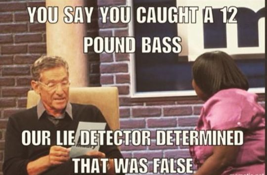 you said you caught a 12 pound bass,our lie detector determined that was false,meme