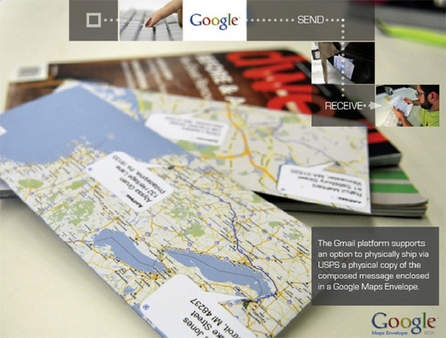 Googlemap envelopes. So simple and easy. Use the directions feature to put a blue line between the TO and the FROM.