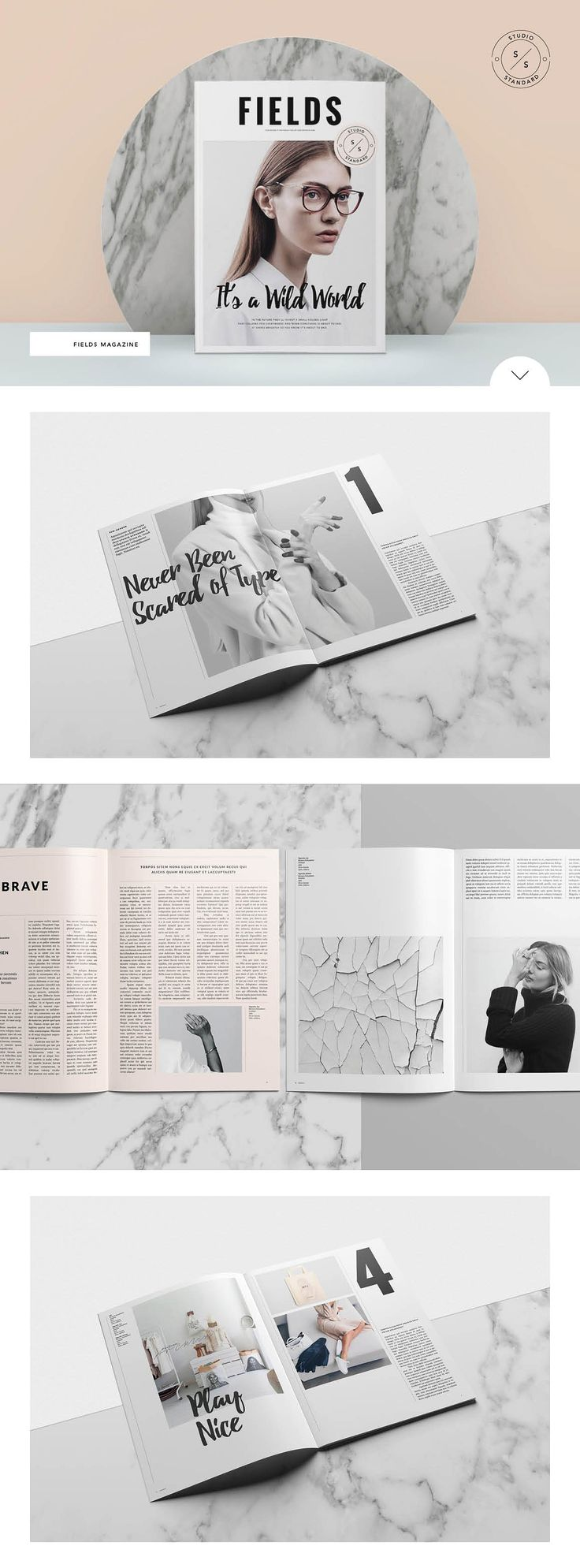 Fields Magazine by studiostandard on @creativemarket