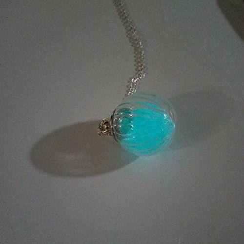 Blauer Leuchtendes Glühen im Dunkeln Öffnen Schraube Faden Kürbis Stripes Glas Kugel 925 Sterling Silber Halskette 45cm Länge