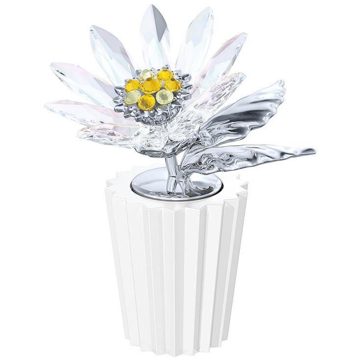 La #margherita, simbolo di purezza e amore, è interpretata da #Swarovski in Clear Crystal, per un fiore che resterà sempre brillante. L'introduzione di cristalli Light Topaz e Jonquil contribuisce a esaltarne la bellezza, insieme alle foglie e allo stelo in metallo e al vaso in ceramica, che creano un gradevole alternarsi di materiali e consistenze. Scoprila in saldo.