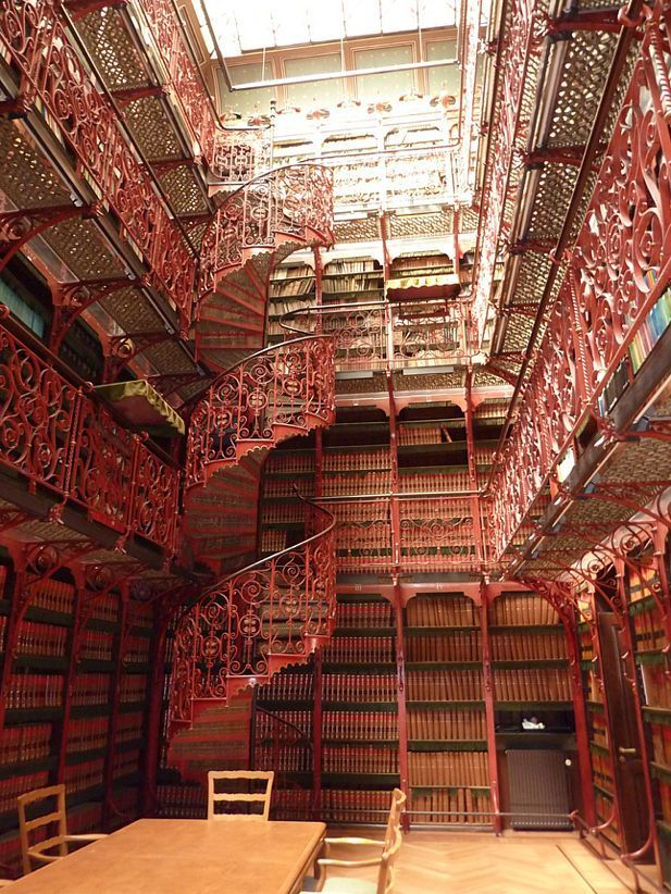 Library of the Dutch Parliament, The Hague, conserving all ever said and written words in the parliament.: Red, Stairs, Spirals Stairca, Old Libraries, The Netherlands, The Hagu, Leaded Glasses, Photo, Heavens