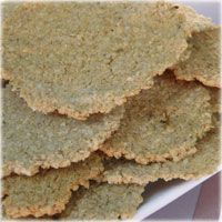 Oatbran Crackers: Super good!!! 1/4 C. Boiling Water, 1 tbsp. butter, 1/2 c. Oat Bran, salt to taste. Pour boiling water over butter and oat bran. Add salt and mix well. Shape dough into 2 balls and press into 2 round flat crackers. Polk holes in crackers with fork tines. Put on greased cookie sheet and bake 350 degrees for 20-30 min or until light brown. Cool and cut into pieces. Yields 8 crackers.