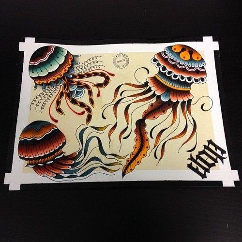 Old school jellyfish tattoo design
