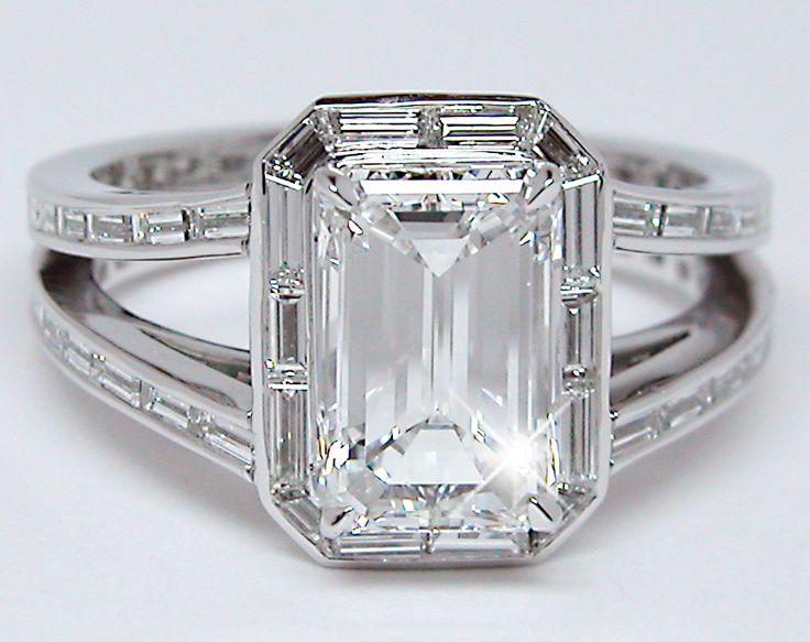 emerald cut diamond baguette halo | Emerald Cut + Baguettes Diamond Ring