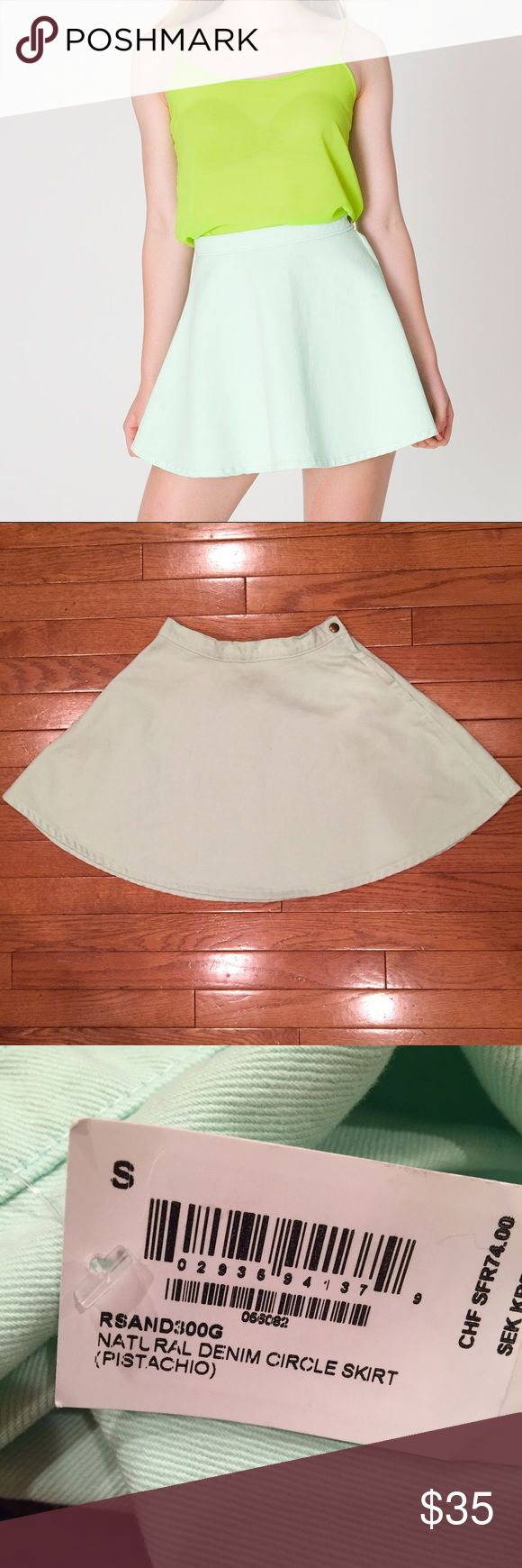 American Apparel Mint Green Denim Circle Skirt! American Apparel natural denim circle skirt in Pistachio! Brand new with tags!! Size small! American Apparel Skirts Circle & Skater