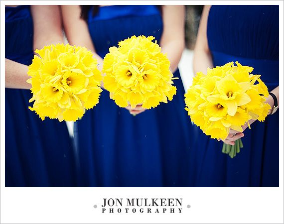 I love these daffodil bouquets! :)  with peacock blue dresses! I think yes! :)