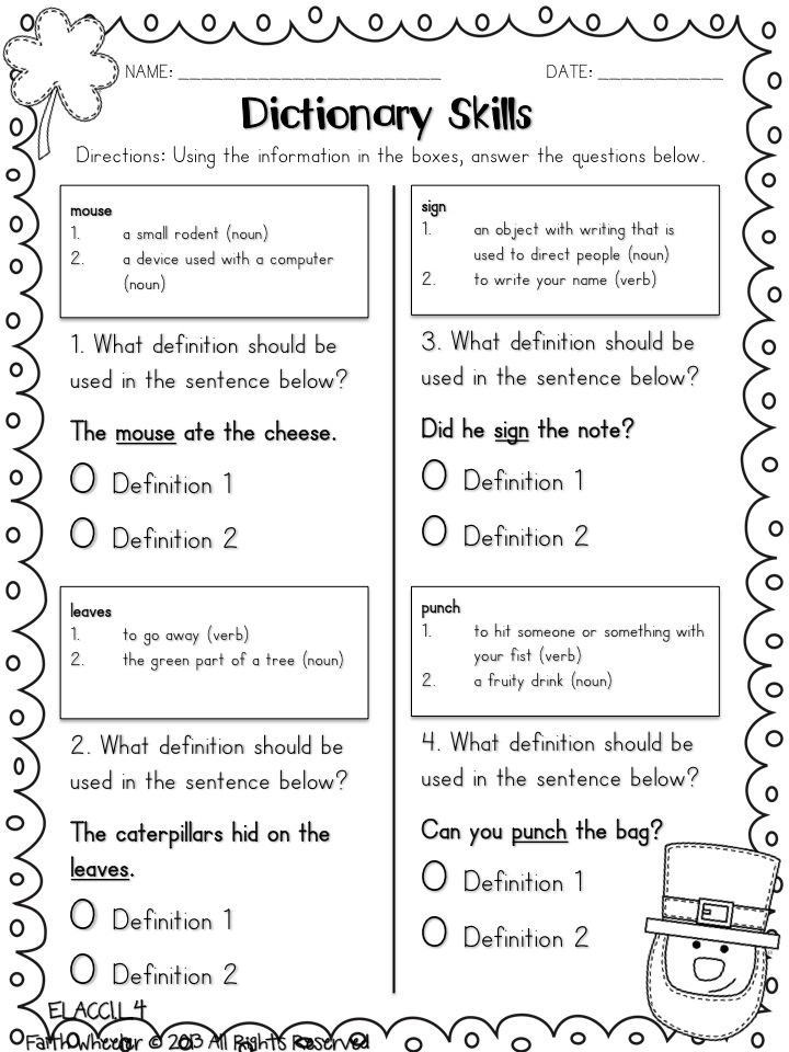 Printables Dictionary Skills Worksheets 1000 ideas about dictionary skills on pinterest 2 st patrick day freebies part of a set day