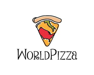 World Pizza Logo design by SimplePixelSL - Creative design of a slice of pizza with the condiments made to look like the USA and Italy maps. Key ideas: dinner, eat, food, food logo, pizzeria, italian pizza, oven pizza, sliced pizza, pizza logo, pizza slice, pizzeria, outline pizza #pizza #logo #design #BrandCrowd #fastfoodlogo