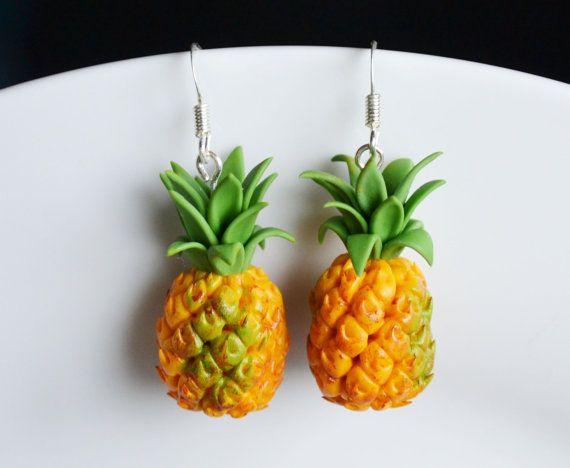 Miniature Pineapple Earrings Fimo Polymer by SweetnNeatJewellery, £8.00