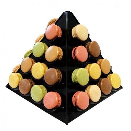 Présentoir pyramide à macarons noir à assembler, pour 40 macarons. Hauteur 27…