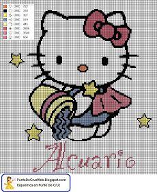 Punto De Cruz: Horóscopo Acuario De Hello Kitty