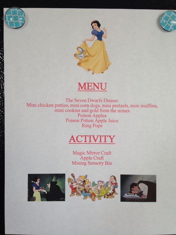 Snow White Menu - Snow White Movie Night - Disney Movie Night - Family Movie Night