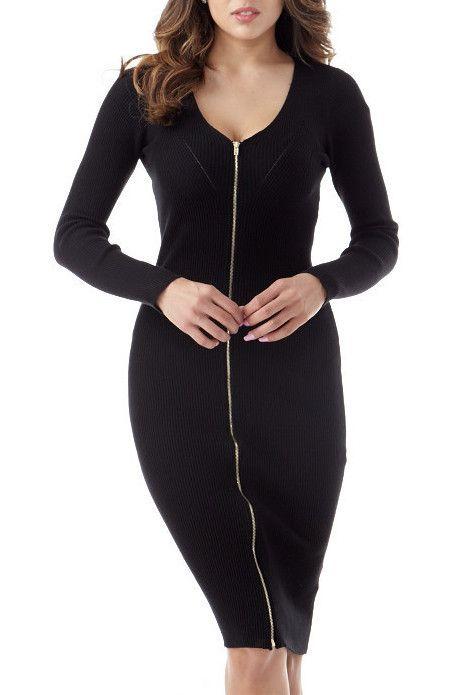 Zipper Front Knit Midi
