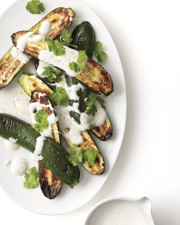 Broiled Zucchini with Yogurt Sauce