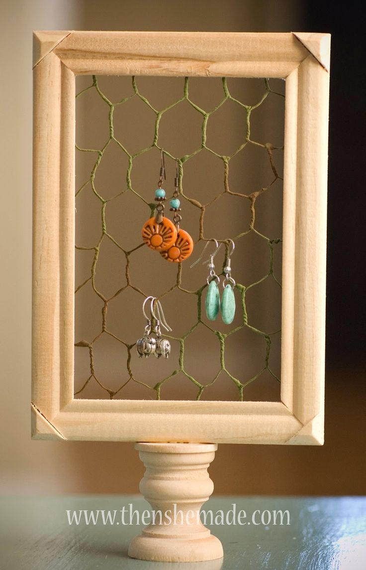"""Then she made...: $3 DIY Earring Holder - made with Chicken Wire """"Ribbon""""  found at Hobby Lobby.  Super cute!!"""