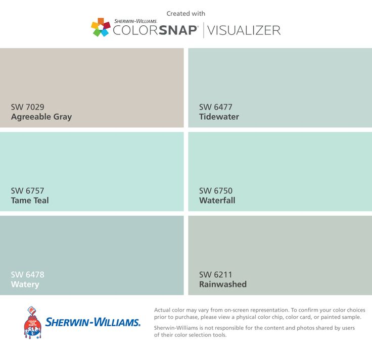 I found these colors with ColorSnap® Visualizer for iPhone by Sherwin-Williams: Agreeable Gray (SW 7029), Tame Teal (SW 6757), Watery (SW 6478), Tidewater (SW 6477), Waterfall (SW 6750), Rainwashed (SW 6211).