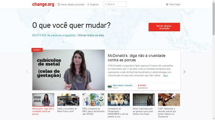 change.org es una web para presentar propuestas de cambio en todo el mundo, a través de la recolección de firmas.