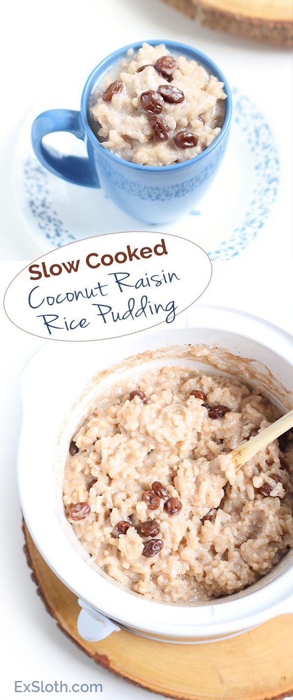 Vegan Slow-Cooked Coconut Raisin Rice Pudding via Ricardo Cuisine and @ExSloth | ExSloth.com