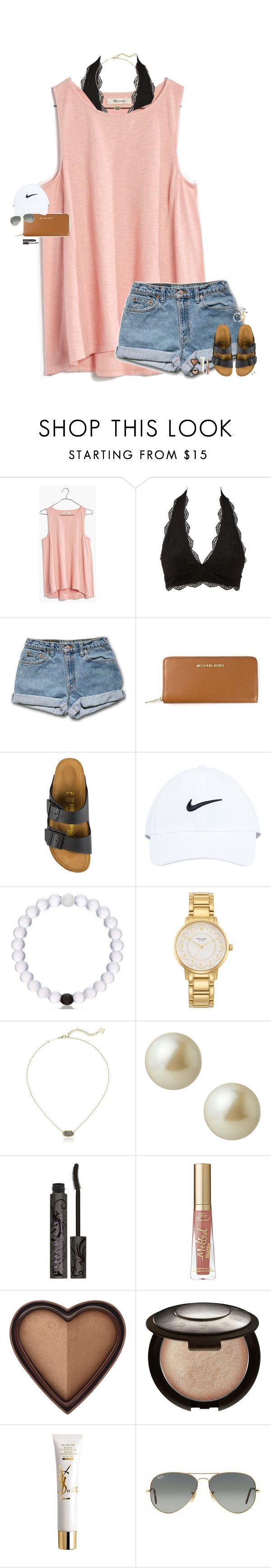 """""""•"""" by maggie-prep ❤ liked on Polyvore featuring Madewell, Charlotte Russe, MICHAEL Michael Kors, Birkenstock, NIKE, Kate Spade, Kendra Scott, Carolee, Urban Decay and Too Faced Cosmetics"""