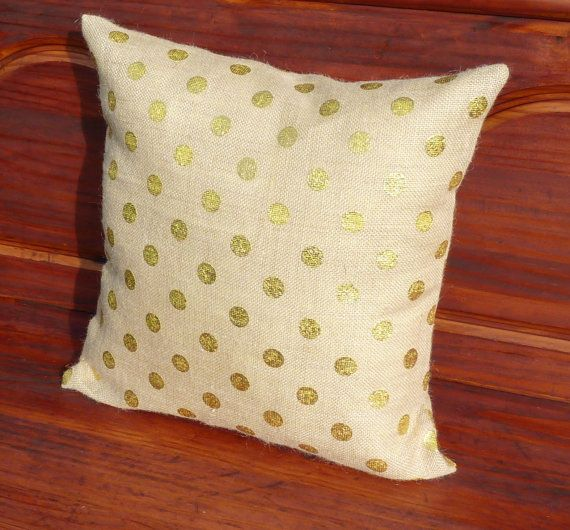 Gold Polka Dot Burlap Pillow Cover Decorative by SewSimplyBlessed