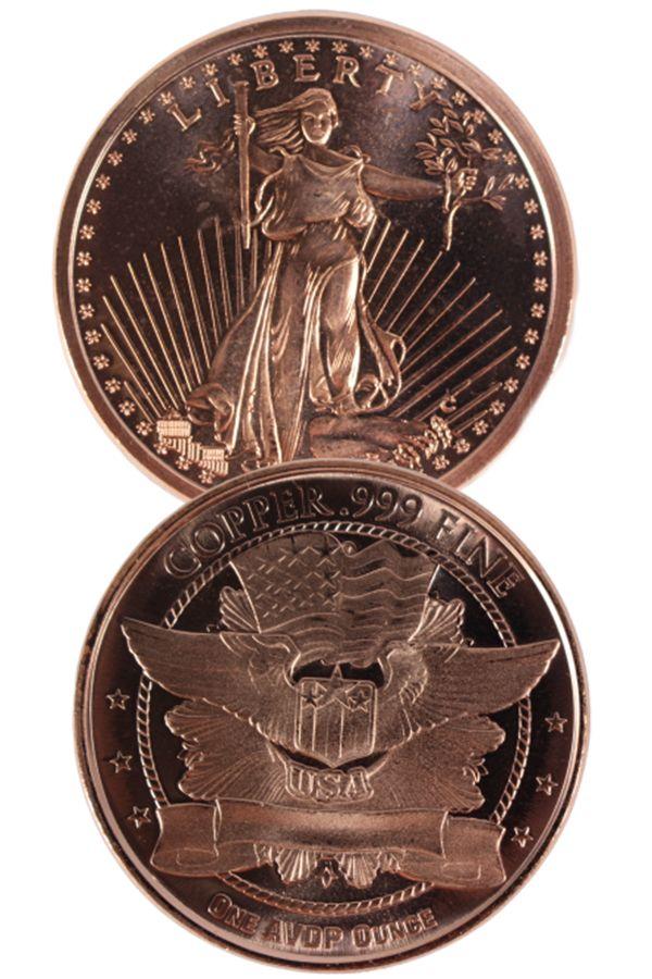 1 oz copper coin St guadens  copper bullion round