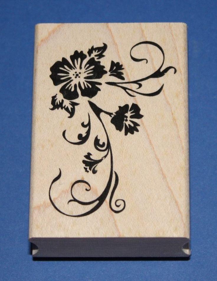 NEW Inkadinkado  Hibiscus Corner  Wooden Backed Rubber Stamp 97999LL