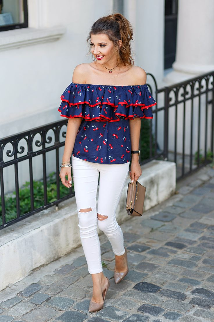 Cheery ruffled off the shoulder top, white jeans and nude stilettos today on my blog: http://themysteriousgirl.ro/2016/07/cherry-girl/