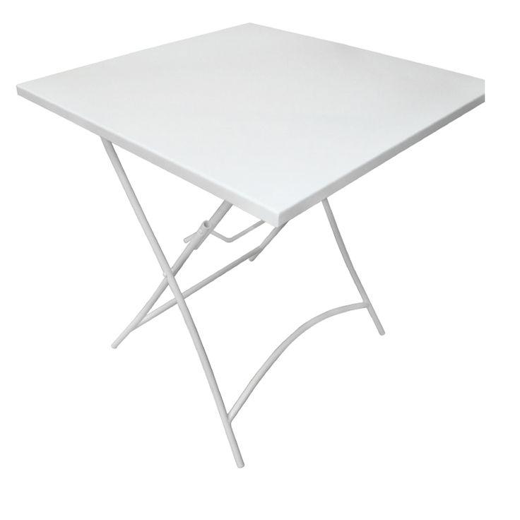 Park garden table square steel white folding