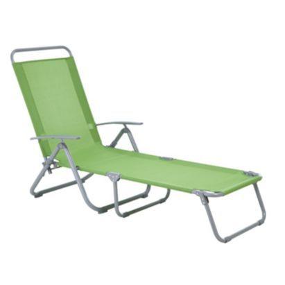 Bahama Metal Sunlounger, Green, 5052931256365