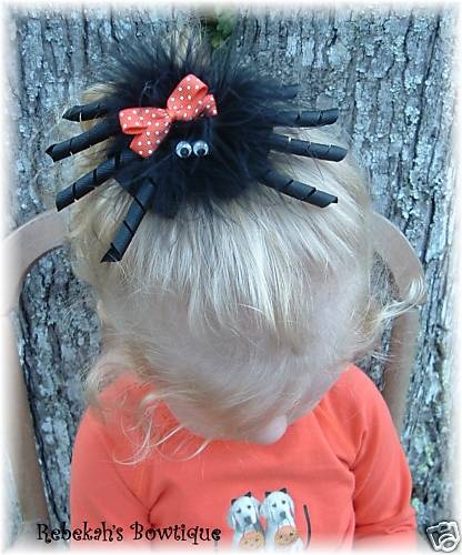 Halloween Black Orange SPIDER Hair Bow Headband OR Clip Bow Google Eyes CUTE #halloween #hair bow #spider #toddler