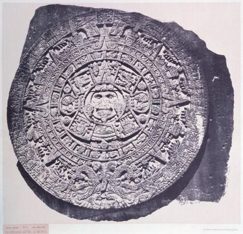 """Calendrier Aztec, à Mexico (1862-1863),"" photo by French archaeologist-adventurer Désiré Charnay. (New York Public Library)"