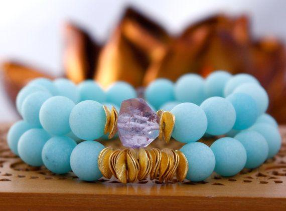 Frosted Matte Baby Blue Jade Stretch Bracelet by LaliJewelryShop, $39.00