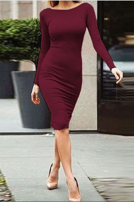 Pure Color Slim Backless Long Sleeve Long Dress